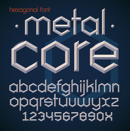 Hexagonal futuristic metallic beveled bold font. Letters of letters and numbers in modern geometric style. Stockfoto - 120214284