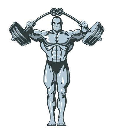 Homme de bodybuilder musculaire soulevant des haltères lourdes avec un nœud. Illustration vectorielle.