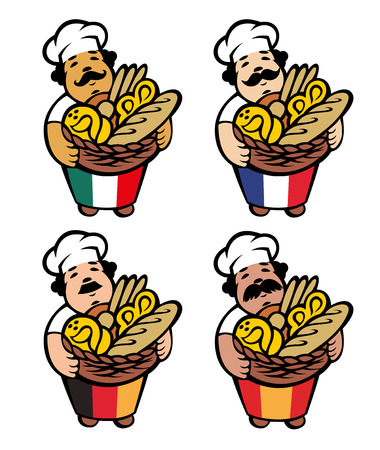 Cartoon baker takes basket with bread and buns, vector illustration