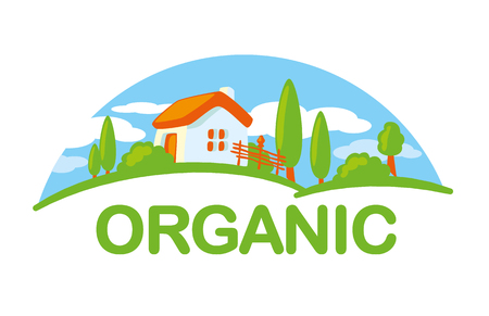 Organic farming illustration, farm house, trees, field and blue sky logo template