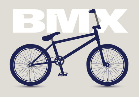 BMX Bicycle isolated and monochrome, high detailed silhouette. Vector illustration.