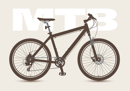 MTB Bicycle isolated and monochrome. Vector illustration.