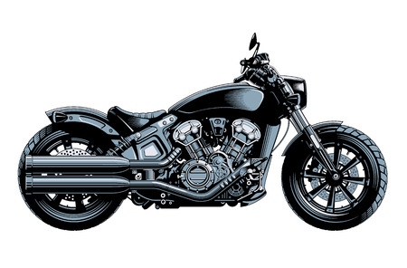 Bobber or chopper motorcycle, side view, isolated on white background. Monochrome high detailed vector illustration. Stock Illustratie