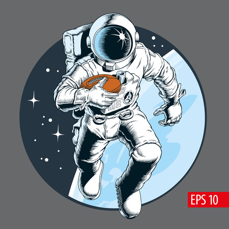 Astronaut athlete with ball playing american football in space. Vector illustration.
