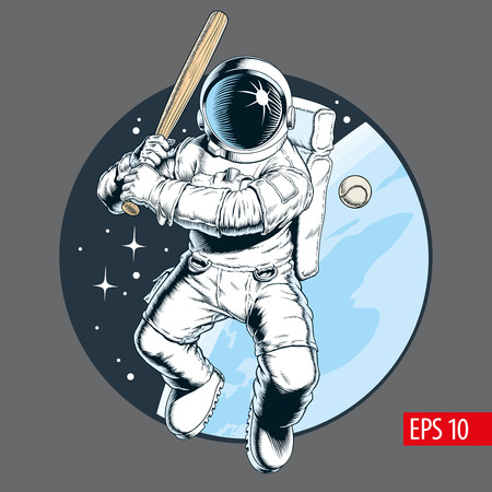 Astronaut with bat playing baseball in space. Vector illustration.