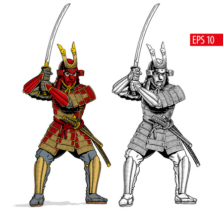 Samurai in ancient armor, japanese warrior with katana sword. Black and white and color version. Vector illustration.