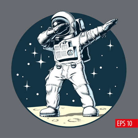 Astronaut dabbing on the moon, comic style vector illustration. 免版税图像