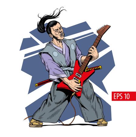 Samurai in kimono playing electric guitar. Japanese guitarist, rock concert. Comic style vector illustration.