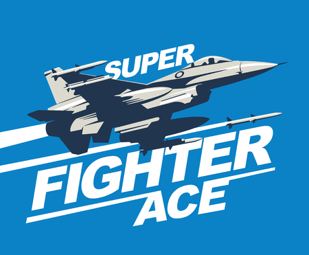 Military plane in the sky fired a missile. Logo template or print. Fighter jet vector illustration. Stockfoto