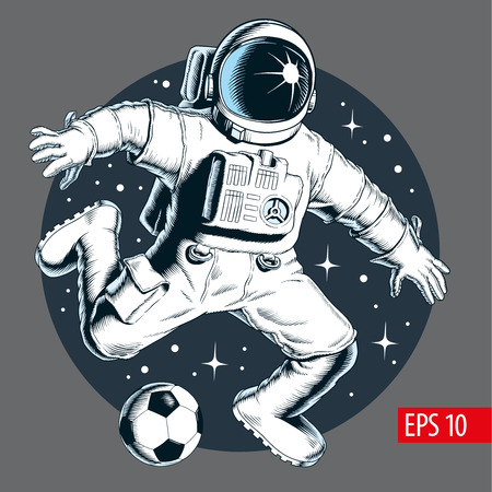Astronaut playing soccer or football in space. Stars on background. Vector illustration.