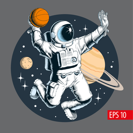 Astronaut playing basketball in space. Planets on background. Vector illustration.