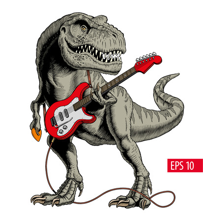 Dinosaur playing electric guitar. Tyrannosaurus or T. rex. Comic style vector illustration. Stockfoto - 119903858