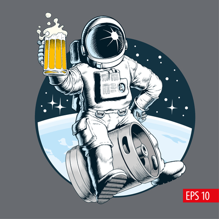 Astronaut sits on a beer keg and holds a beer mug. Comic style vector illustration.