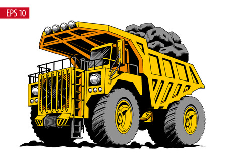 Big heavy yellow mining truck or dumper. Comic style vector illustration.