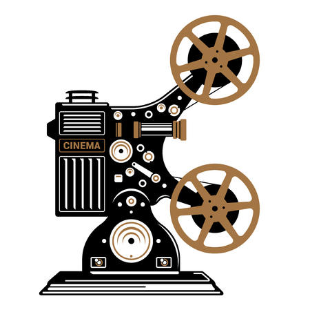 Vintage film projector stylized flat vector illustration.