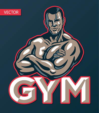 Bodybuilder man posing, gym sport club logo design template, print or poster. Dark blue backgound. Vector illustration.