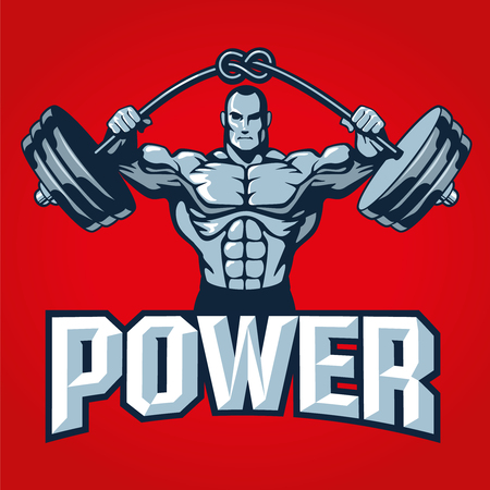 Muscle bodybuilder man lifting heavy barbell with knot, on red background. Gym logo template or t shirt print design. Vector illustration.