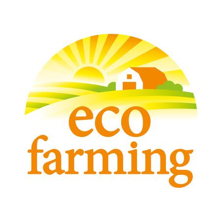 Organic farming illustration. Farm house, field and sun. Logo template.