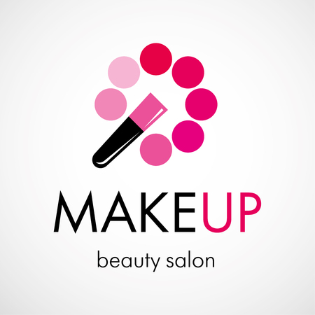 Decorative cosmetic, makeup, beauty salon, stylist logo design template. - Vector
