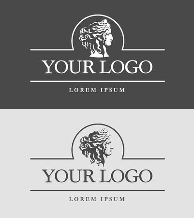 Ancient Greece woman head. Greek or roman goddess face. Logo design template.