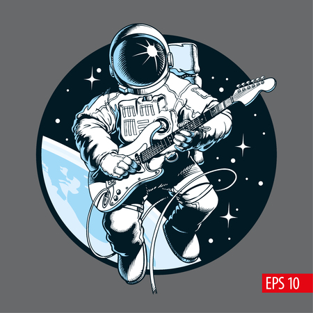 Astronaut playing electric guitar in space. Space tourist. Comic style vector illustration.