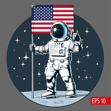 Astronaut with american flag stands on moon. Comic style vector illustration. 写真素材
