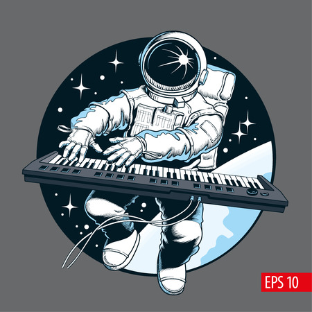 Astronaut playing piano synthesizer in space. Space tourist. Comic style vector illustration. Stockfoto