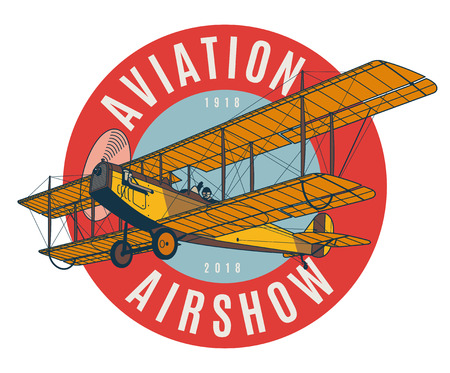 Vintage airplane logo badge. Biplane detailed vector illustration.
