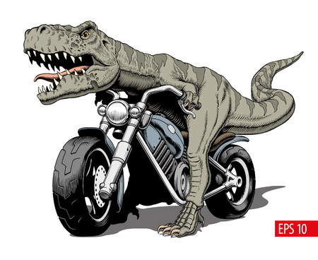 Tyrannosaurus Rex riding a classic chopper or bobber motorcycle. Vector illustration.