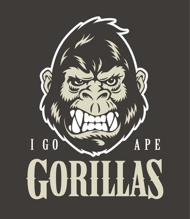 Gorilla face and head. Logo or mascot. Vector illustration.