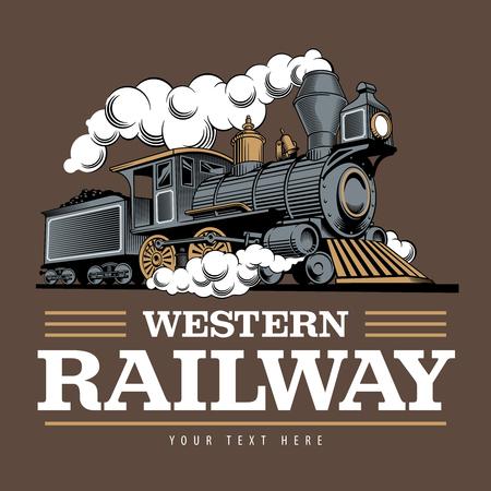 Lokomotywa pociągu parowego, Grawerowanie styl wektor ilustracja. Na brązowym tle. Szablon projektu logo. Logo