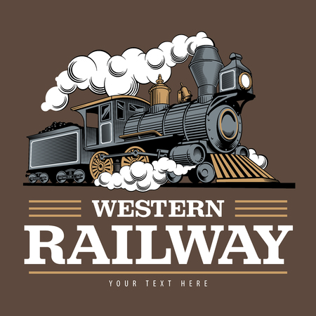 Vintage steam train locomotive, engraving style vector illustration. On brown background. Logo design template. Çizim