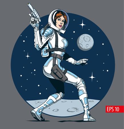 Sexy astronaut attractive girl with blaster gun. Classic comic book style vector illustration. Illustration