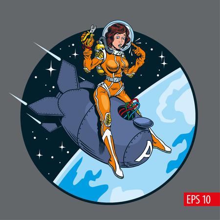 Una chica pin-up de estilo cómico vintage con traje espacial y casco montando una gran bomba atómica. Ilustración vectorial.