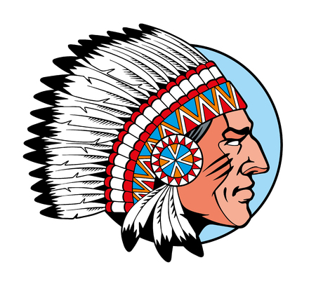 American Indian Chief head profile. Comic style vector illustration.