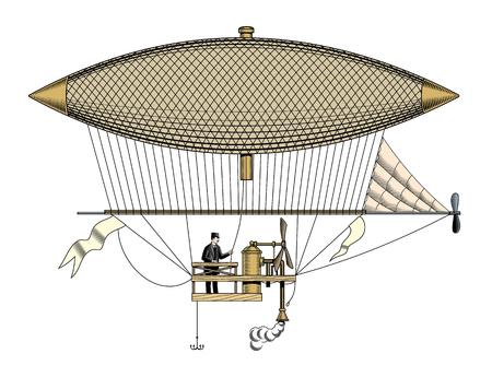 Vintage aerostat or zeppelin, isolated, engraving style vector illustration. Stockfoto