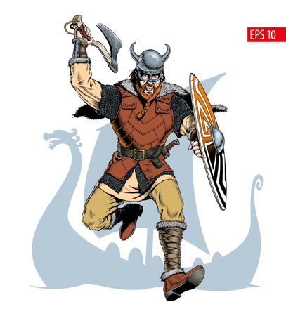 Viking with ax and shield attacks. Comic style vector illustration.