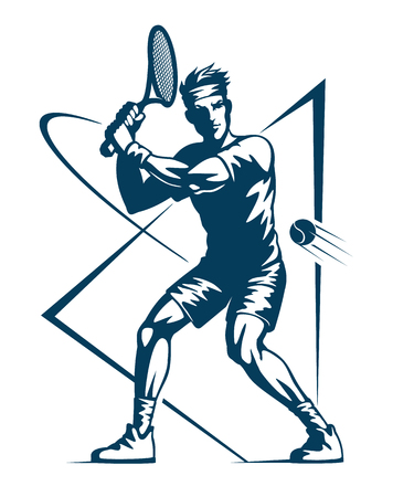 Tennis player, stylized monochrome icon, vector illustration