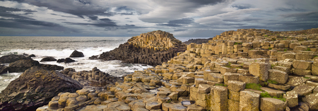 Giants Causeway rocks and ocean, autumn, Northern Ireland, UK Stockfoto
