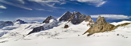 Jungfraujoch peaks, mountains and glacier, Switzerland, panoramic scenery Stockfoto