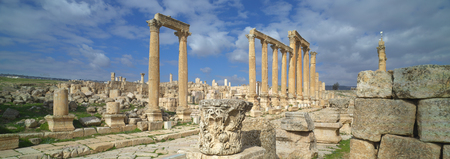Ancient Jerash, ruins and main colonnaded street of the Greco-Roman city of Gera at Jordan