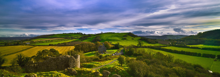 Rock of Dunamase County Laois, Ireland, panoramic view Stockfoto