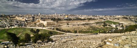 Panoramic view to Jerusalem old city from the Mount of Olives, Israel Stockfoto