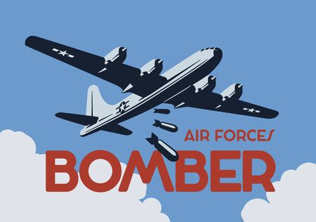 World war 2 bomber aircraft poster. Stock Illustratie