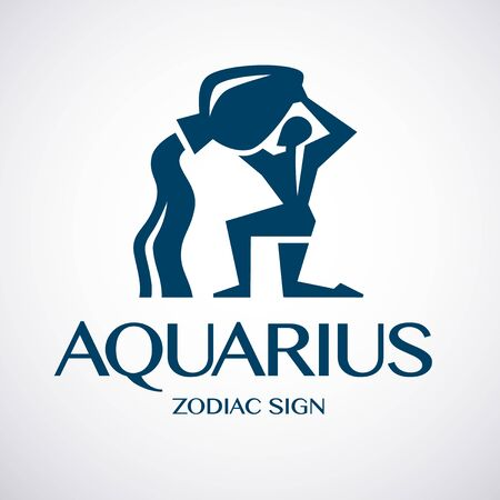 Aquarius, zodiac or horoscope symbol. Icon or logo template. Vector illustration. Stock Illustratie