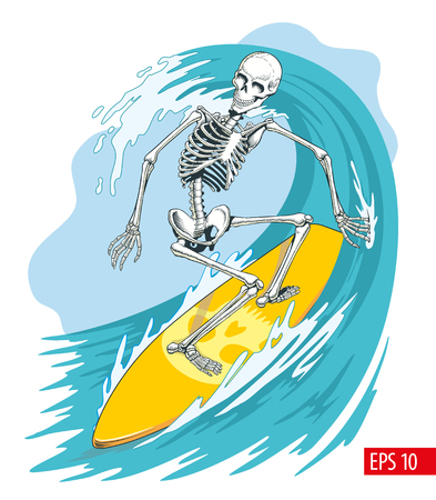 Skeleton surfer on the surf board ride the wave. Vector illustration.