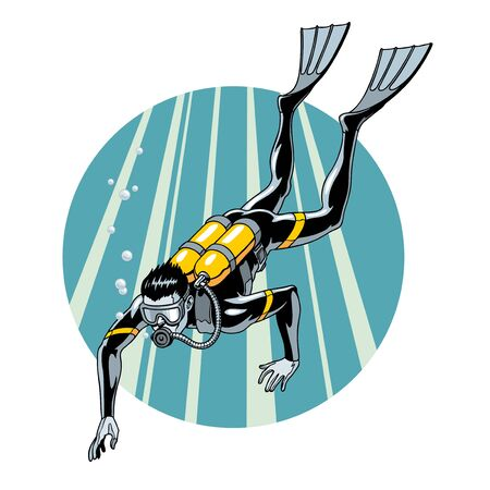 Scuba diving vector illustration. Swimming diver in wetsuit, mask, flippers and equipment for breathing on back. Extreme water sport.