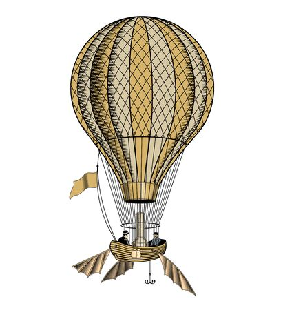 Vintage hot air balloon or aerostat, engraving style vector illustration. Stockfoto