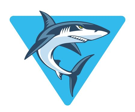 Angry shark in blue triangle, vector illustration. Mascot template.