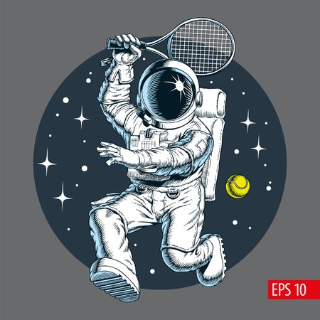 Astronaut with bat playing tennis in space. Vector illustration.